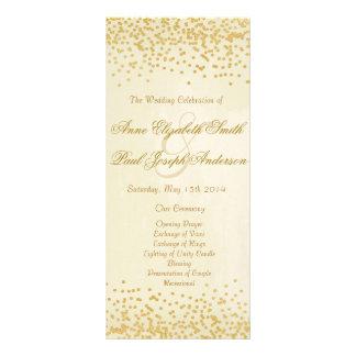 Vintage del programa del boda del confeti del oro tarjetas publicitarias