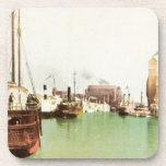 Vintage del puerto del búfalo posavasos