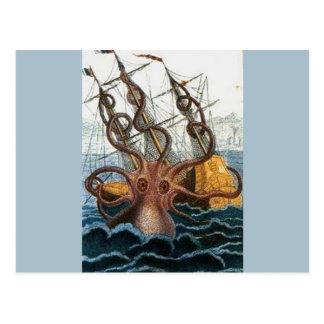 Vintage del pulpo de Kraken Steampunk Postales
