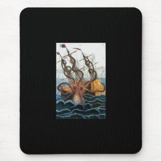 Vintage del pulpo de Kraken Steampunk Mousepads