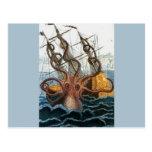 Vintage del pulpo de Kraken Steampunk Tarjeta Postal