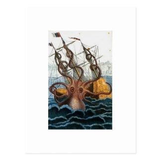 Vintage del pulpo de Kraken Steampunk Postal