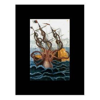Vintage del pulpo de Kraken Steampunk Tarjetas Postales