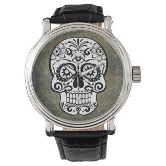 Vintage del reloj de la pizarra del cráneo del