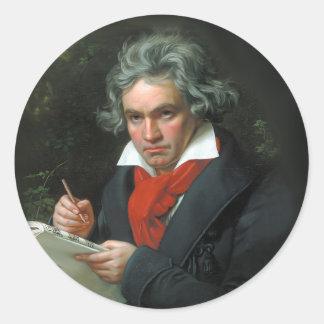 Vintage del retrato de Beethoven Pegatina Redonda
