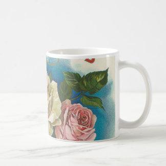 Vintage del rosa blanco tazas de café
