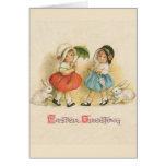 Vintage del saludo de Pascua Tarjeta De Felicitación