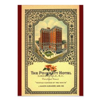 """Vintage del SC de Greenville del hotel de Poinsett Invitación 4.5"""" X 6.25"""""""