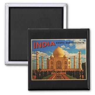 Vintage del Taj Mahal la India Imán Cuadrado