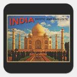 Vintage del Taj Mahal la India Colcomanias Cuadradass