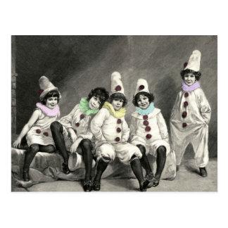 Vintage del traje del carnaval de los niños de tarjetas postales
