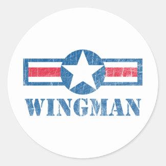 Vintage del Wingman Pegatina Redonda
