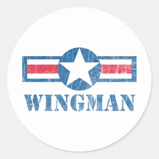 Vintage del Wingman Pegatinas Redondas