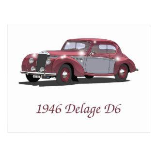Vintage Delage Car Postcard