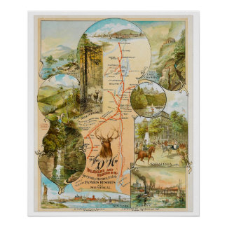 Vintage Delaware and Hudson Railroad Map Poster