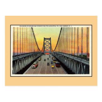 Vintage Delaware River Bridge Camden Philadelphia Postcard