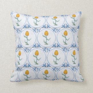 Vintage Delft Tulip Faux Tile Pattern Pillow