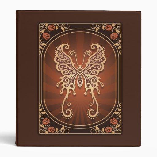 Vintage Delicate Brown Butterfly Vinyl Binders