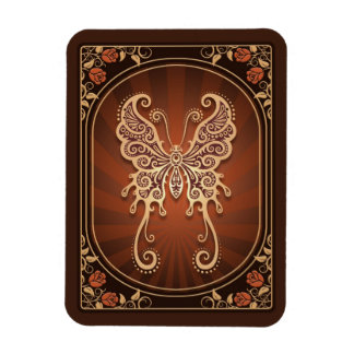 Vintage Delicate Brown Butterfly Rectangular Magnet