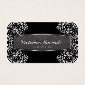 VINTAGE delicate filigree chalkboard black white Business Card