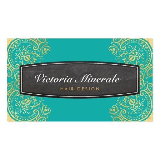 VINTAGE delicate filigree chalkboard jade gold Business Card