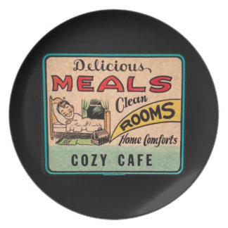 Vintage Delicious Meals Clean Rooms Home Comforts Plate