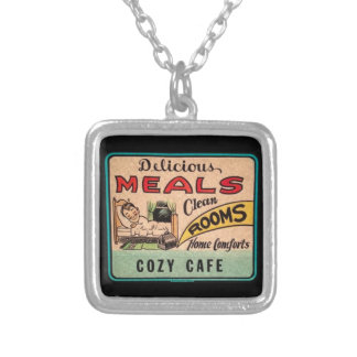 Vintage Delicious Meals Clean Rooms Home Comforts Square Pendant Necklace