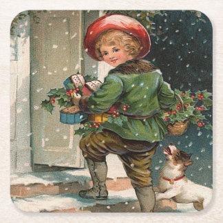 Vintage Delivering Christmas Gifts Square Paper Coaster