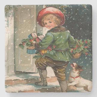 Vintage Delivering Christmas Gifts Stone Beverage Coaster