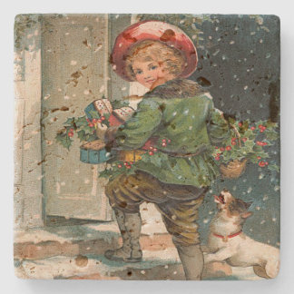 Vintage Delivering Christmas Gifts Stone Coaster