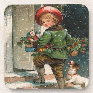 Vintage Delivering Gifts Set of Cork Coasters