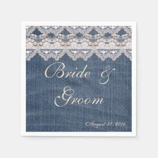 Vintage Denim and Lace Paper Napkins