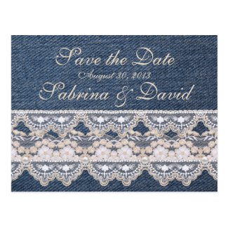 Vintage Denim and Lace Save the Date Postcard