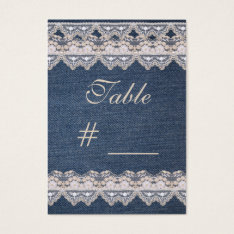 Vintage Denim And Lace Table Number Card at Zazzle