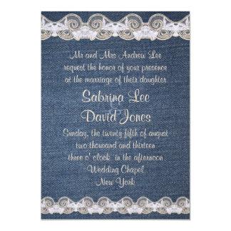 Vintage Denim and Lace Wedding Invitation