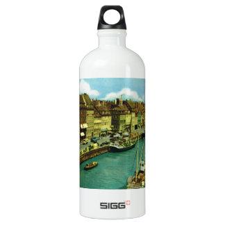 Vintage Denmark, Copenhagen waterfront Aluminum Water Bottle