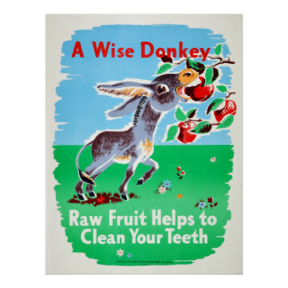 Vintage Dental Raw Fruit Clean Teeth Health Donkey Poster