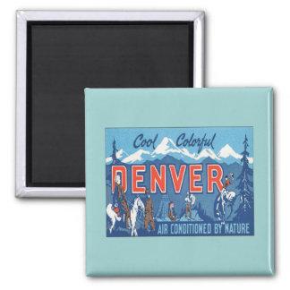 Vintage Denver Colorado Imán Cuadrado