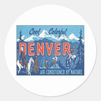 Vintage Denver Colorado Pegatina Redonda