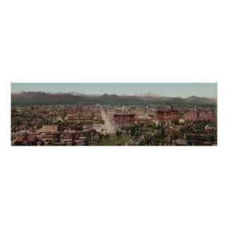 Vintage Denver Colorado Skyline Panoramic Photo Poster