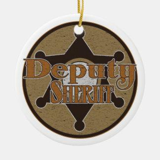 Vintage Deputy Sheriff Ceramic Ornament