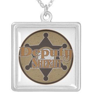 Vintage Deputy Sheriff Square Pendant Necklace