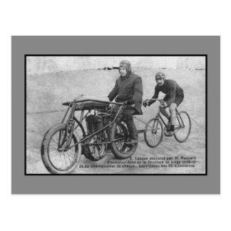 Vintage derny cycling history Belgian champion Postcard