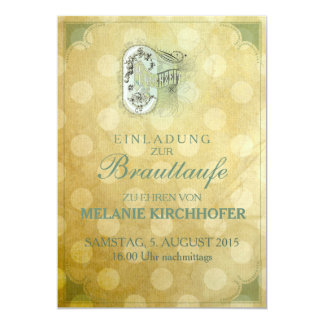 """Vintage Design - Brauttaufe 5"""" X 7"""" Invitation Card"""