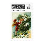 Vintage Design Christmas Postage Stamps Stamps