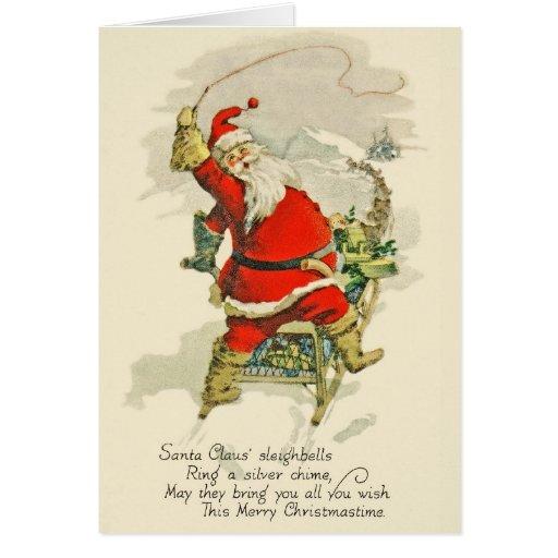 Vintage-Design Christmas Santa & His Sled Dogs Greeting Cards