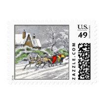 Vintage Design Christmas Winter Postage Stamp