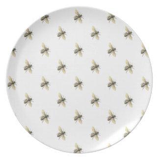 Vintage Design Honey Bee Melamine Dinner Plates
