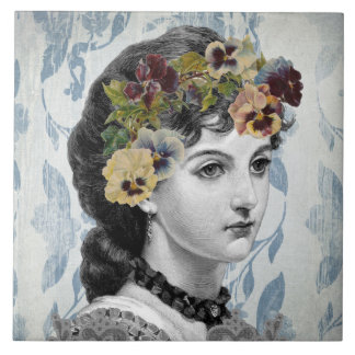 Vintage Design Old Fashioned Retro Victorian Lady Tile