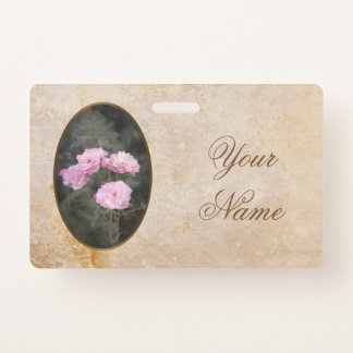 Vintage design. Photo of pink roses. Add your text Badge